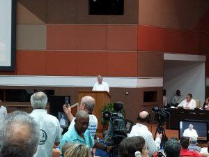 El Presidente de la República de Cuba, Miguel Díaz-Canel, se dirige a los asistentes